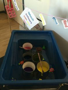 Water and colour. Set up so children can explore colours, also giving them an opportunity to colour match.