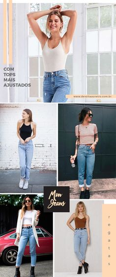 link -> looks com mom jeans Street Style Outfits, Cool Outfits, Summer Outfits, Casual Outfits, 90s Fashion, Fashion Looks, Fashion Outfits, Womens Fashion, Looks Style