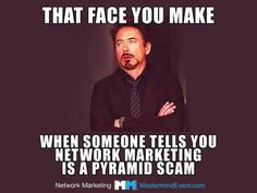 FREE GRAPHIC! That face you make when someone tells you that Network Marketing is a Pyramid Scam. :)