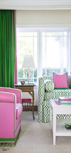 Pink And Green Living Room Decor by Theresa Ortega Check more at Bold Living Room, Living Room Green, Green Rooms, Living Room Decor, Living Spaces, Living Rooms, Miami Living, House Colors, Pink And Green