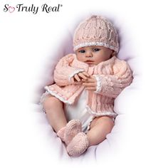 """Abby Rose Baby Doll. Poseable doll by doll artist Marissa May,vinyl skin and wears a knitted outfit, 18"""". So lovable!"""