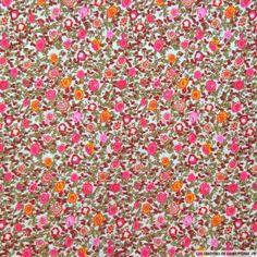 Coton imprimé petites fleurs roses et jaunes