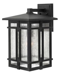 """Hinkley Lighting 1965 1 Light 11"""" Wide Lantern Dark Sky Wall Sconce with Clear S Museum Black Outdoor Lighting Wall Sconces Outdoor Wall Sconces"""