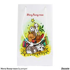 Merry Bunny-mass Small Gift Bag. A cute cartoon drawing of bunnies piling up each other making a furry Christmas tree. There are rex rabbit, lop rabbit, dutch rabbit, lion rabbit and hotot dwarf rabit.#Rabbitcartoon #cutebunny #Christmasrabbit #Christmasbunny #rexrabbit #loprabbit #dutchrabbit #lionrabbit #hototdwarfrabit #petrabbit