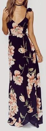 Floral Backless V-Neck #Maxi Dress