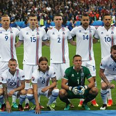 Players of Iceland clicked during UEFA Euro Cup 2016 quarter final