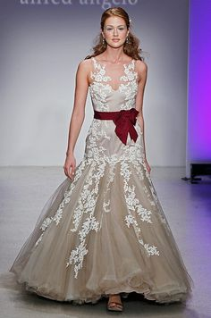 Alfred Angelo wedding dress with red sash,Spring 2013
