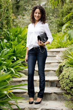 crisp white shirt and jeans