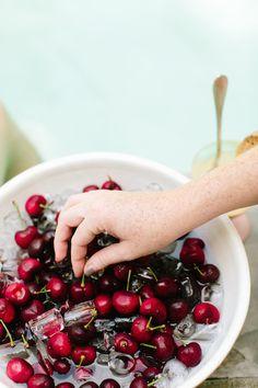 perfect summer dessert: fresh cherries on ice!