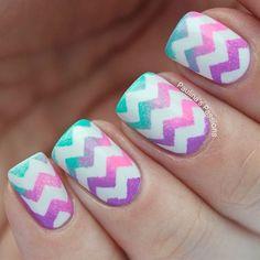 Watercolor Chevron Nails
