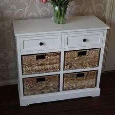 Cream Wicker Storage Unit - Two Drawer/Four Baskets