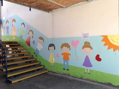 School Wall Decoration, School Door Decorations, Crayon Decorations, Kindergarten Projects, School Murals, Murals For Kids, Playroom Decor, Hallway Decorating, Drawing For Kids