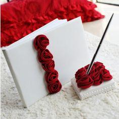 fett und rot Luxus Rose Hochzeit Gästebuch und Pen-Set ausgekleidet