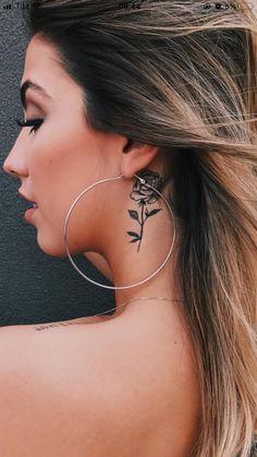 Dope Tattoos, Mini Tattoos, Badass Tattoos, Flower Tattoos, Body Art Tattoos, Small Tattoos, Tatoos, Rose Tattoo Behind Ear, Piercings