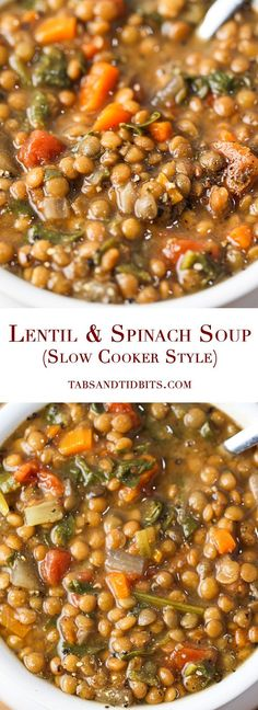 A delicious, nutritious and filling soup with the optional but strongly recommended kick of spice! Lentil & Spinach Soup (Slow Cooker Style) A delicious, nutritious and filling soup with the optional but strongly recommended kick of spice Vegan Soups, Vegetarian Recipes, Healthy Recipes, Healthy Lentil Recipes, Easy Recipes, Vegetarian Cooking, Healthy Lentil Soup, Lentil Soup Recipes, Cooking Broccoli