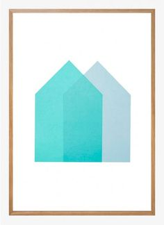 Lane - Light blue and turquoise houses. 500x700 mm. Available at www.theposterclub.com. #graphic #design #screenprint #artprint #poster #theposterclub
