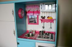 Homemade Kitchen From Entertainment Center | Play Kitchen Made From An Old Entertainment Center