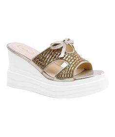 340de07661cf3 Champagne Bow Wedge Sandal - Women