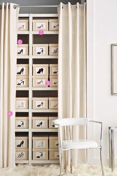 shoe closet - photographs of shoe box contents to ID. Drape and rod within a room might be an option, if not sufficient closet space. Shoe Organizer, Closet Organization, Organizing Shoes, Organizing Ideas, Wardrobe Organisation, Closet Space, Shoe Closet, Shoe Wardrobe, Wardrobe Ideas