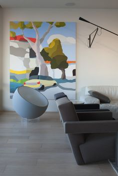 michael muir art, paint by numbers, gray bowl chair, modern, living with art…