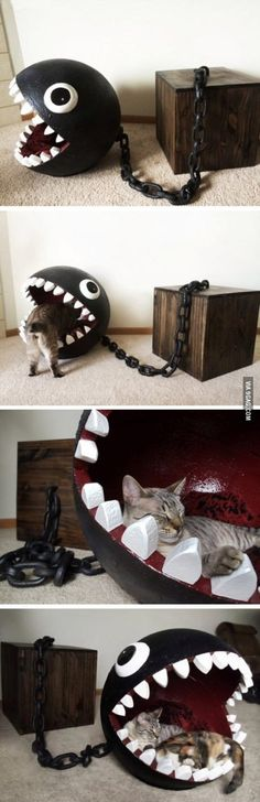 This is simply just awesome! | Chain Chomp bed for cats | cat bad | super mario monster | black ball | cat resting point | geek home decor house | #catGeek retro gaming