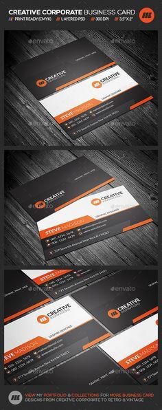 Creative Corporate Business Card Template #design Download: http://graphicriver.net/item/creative-corporate-business-card/12112851?ref=ksioks