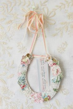 Wedding Lucky Horseshoe made from vintage lace and fabric (number three). £30.00, via Etsy.