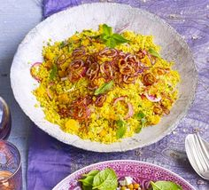 Golden couscous with apricots & crispy onions (fried onions, mint and coriander, a touch of fruit and spices) Bbc Good Food Recipes, Cooking Recipes, What's Cooking, What Is Couscous, Crispy Onions, Fried Onions, Onion Recipes, Veggie Recipes, Gastronomia