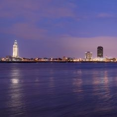Baton Rouge swims in purple at dusk.