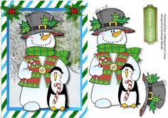 lovely Snowman and Penguin  on Craftsuprint designed by Ceredwyn Macrae - a lovely card to make and give to anyone with a Lovely Snowman and Penguin a lovely card has one greeting tag , - Now available for download!