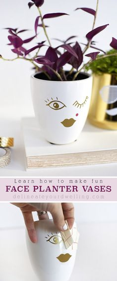 Learn how to make simple craft His + Her DIY Face Planters using a plain vase and some vinyl stickers! You won't regret making this cheerful succulent planter with faces. Plant Crafts, Clay Pot Crafts, Easy Crafts, Summer Diy, Summer Crafts, Summer Ideas, Face Planters, Diy Planters, Plastic Bottle Planter
