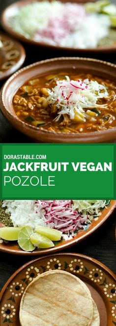 This jackfruit vegan pozole is a hearty, spicy, and satisfying soup. It is an ad. - This jackfruit vegan pozole is a hearty, spicy, and satisfying soup. It is an adaptation of my gran - Vegan Mexican Recipes, Delicious Vegan Recipes, Veggie Recipes, Whole Food Recipes, Soup Recipes, Vegetarian Recipes, Cooking Recipes, Healthy Recipes, Vegetarian Mexican