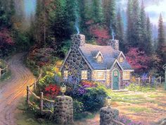 Pine Cove Cottage (Cottage By the Sea II) by Thomas Kinkade Gallery Proof G/P Limited Edition Lithograph on Paper Cute Cottage, Old Cottage, Cottage Art, Painted Cottage, Beautiful Paintings, Beautiful Landscapes, Thomas Kinkade Art, Kinkade Paintings, Thomas Kincaid
