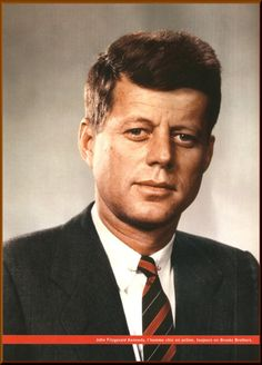 : Young Senator Kennedy in color.