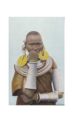 Hand-coloured photo of a Meru tribeswoman, Kenya Otherworldly. African Tribes, African Women, We Are The World, People Of The World, Costume Ethnique, German East Africa, Afrique Art, Tribal Costume, African Jewelry