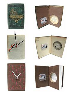 No actual instructions Book Clock, Clock Art, Diy Clock, Clock Decor, Home Crafts, Arts And Crafts, Diy Crafts, Old Book Crafts, Book Jewelry