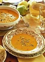 ginger pumpkin soup - pumpkin puree, chicken broth, pear nectar, peanut butter, garlic, ginger root, green onion, lime juice, salt, cayenne pepper...