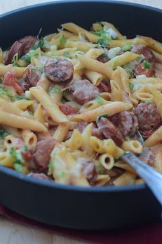 Skillet Sausage Pasta -- Don't you just love skillet meals, I sure do! This one will be next.
