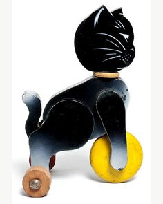 Cat with ball pull toy,France, around 1950