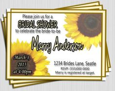 Bridal Shower Invitation Wedding Invite Sunflower Floral Yellow Printable DIY Modern DIY Brown Cream