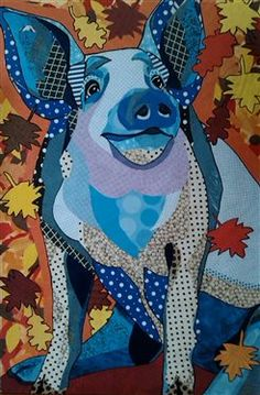 "Scrapbook Paper Collage art, -""Polka-dot Piggy"" by Laura Yager- pig art, animal portraits art, happy pig, cut paper art Paper Collage Art, Paper Art, Cut Paper, Paper Crafts, Pig Art, Ecole Art, Collage Making, Insect Art, Textile Fiber Art"