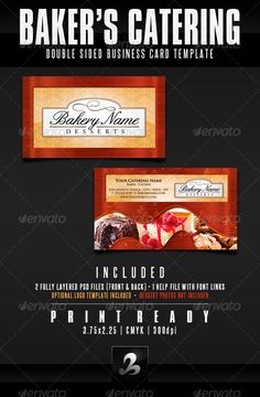 Baking Business Cards, Printable Business Cards, Free Business Card Templates, Bakery Names, Dessert Names, Cake Candy, Double Sided Business Cards, Name Card Design, Catering Business