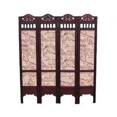 Wooden Carved Screen/Room Divider with Antique Sailing Map