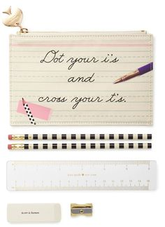 How cute is this Kate Spade pencil set? It comes packed with all of the essentials, including: two pencils, a sharpener, eraser and ruler.