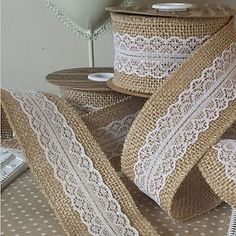 "5M 2"" (5 cm) Natural Jute Burlap Hessian Ribbon with Lace Trims Tape Rustic Wedding Decor Wedding Cake Topper(Random) – AUD $ 12.86"