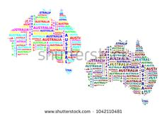 Sketch Australia letter text continent, Australia word - in the shape of the continent, Map of continent Australia - color vector illustration Map Of Continents, Color Vector, Sketch, Diagram, Australia, Shapes, Stock Photos, Lettering, Words