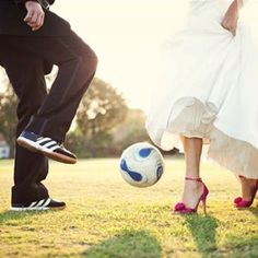 Cute photo for a soccer couple wedding