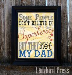 Adorable Father's Day Print, Superhero Dad print!