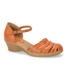 Another great find on #zulily! Orange Tatianna Leather Wedge #zulilyfinds