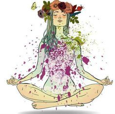 Summer Girl in Lotus pose Meditation Art, Yoga Art, Namaste, Yoga Illustration, Lotus Pose, Yoga Inspiration, Illustrations, Art Inspo, Art Drawings